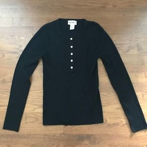 For the Republic Black Ribbed Knit Top Sz M